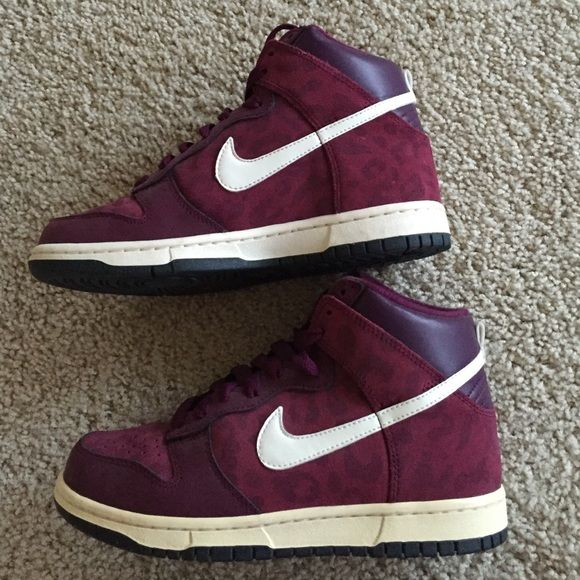 Nike leopard print dunks Amazing burgundy leopard print dunks! Only worn a few times. Nike Shoes Athletic Shoes