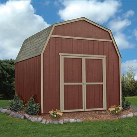 Heartland Shed $998 at Lowes (installation not included)  Heartland (Common: 10-ft x 10-ft; Interior Dimensions: 10-ft x 9.71 Feet) Rainier Gambrel Engineered Wood Wood Storage Shed