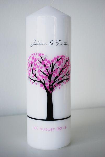 Hochzeitsdeko - Hochzeitskerze - mit Liebesbaum Pink/Grau - ein Designerstück von printsonalities bei DaWanda