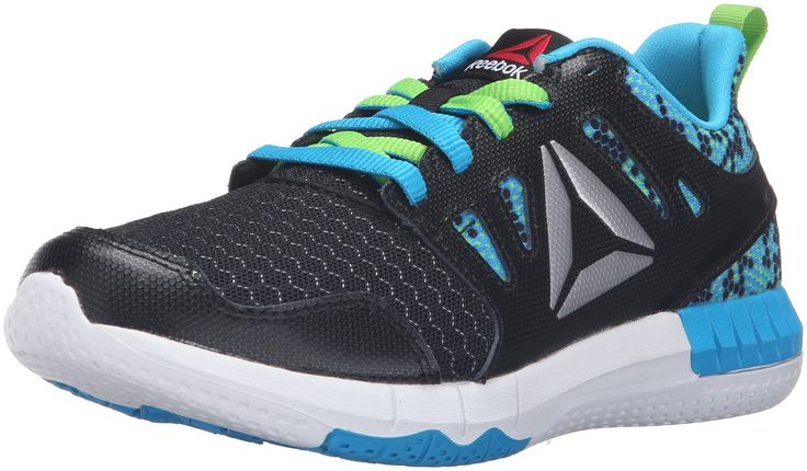 Reebok Kids' Zprint 3D Mtl-K Track Shoe, Black/Semi Solar Green/White, 6 M US Big Kid. Multi-density cushioning platform. 3-dimensional foot scan engineered cushioning. Independent nodes in key zones provides hyper flexibility. Super soft foam underfoot at impact.