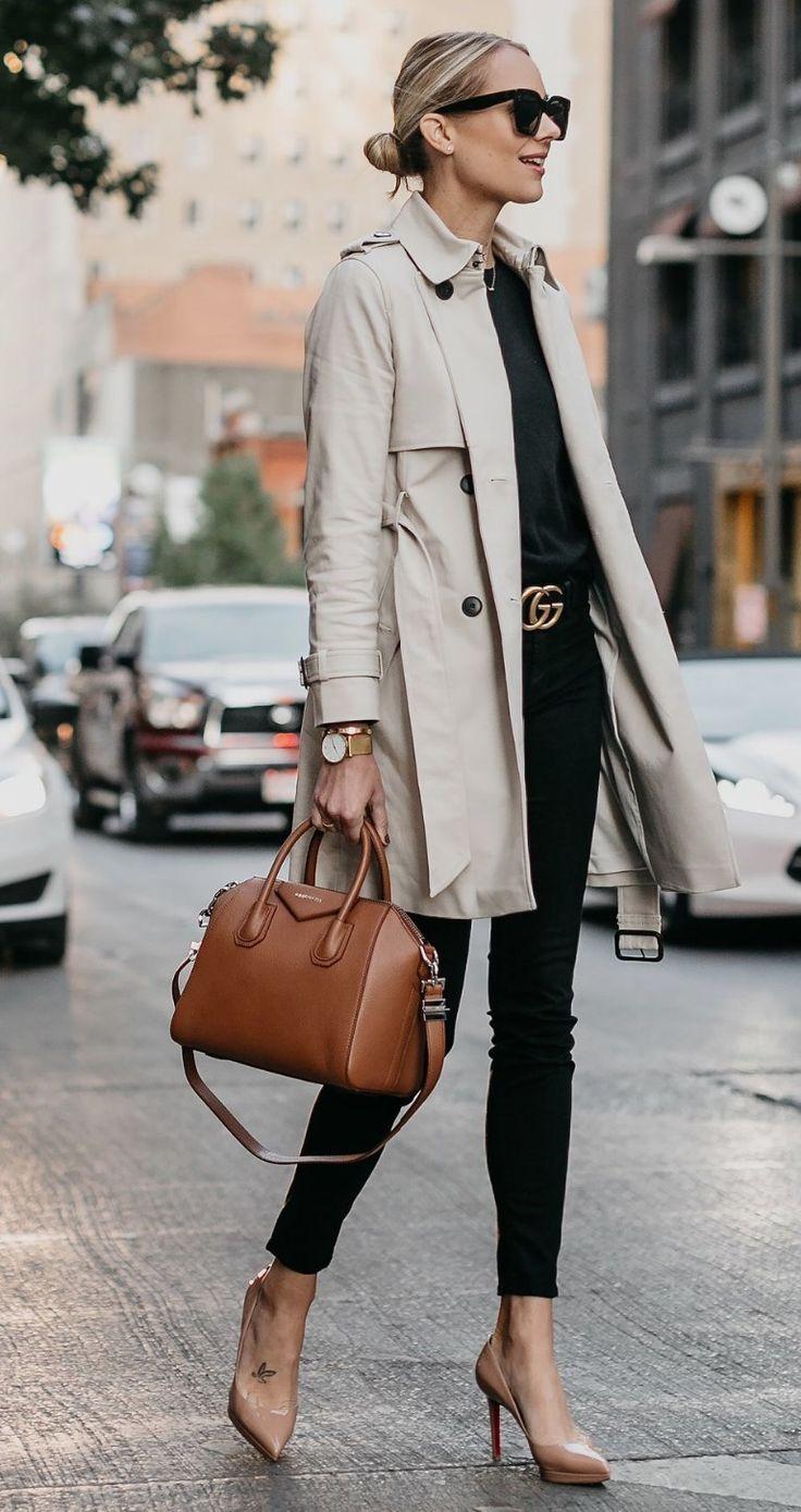 Trench coat, black top & pants, beige shoes, tan satchel