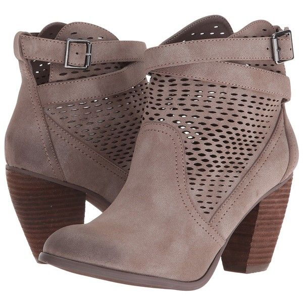 Not Rated Macy (Taupe) Women's Boots ($75) ❤ liked on Polyvore featuring shoes, boots, ankle booties, ankle strap booties, not rated boots, round toe booties, faux-fur boots and taupe ankle booties