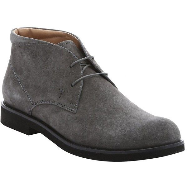 Tod's Grey Suede Lace-Up Chukka Boots (375174401) ($432) ❤ liked on Polyvore featuring men's fashion, men's shoes, men's boots, grey, shoes, mens round toe cowboy boots, mens suede lace up shoes, mens lace up boots, mens gray dress shoes and tods mens shoes