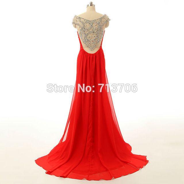SML064 Vermelho Sereia Mãe da noiva vestidos Chiffon Frisada Sheer Voltar 2016 Especial Ocasião Elegante longos vestidos de noite