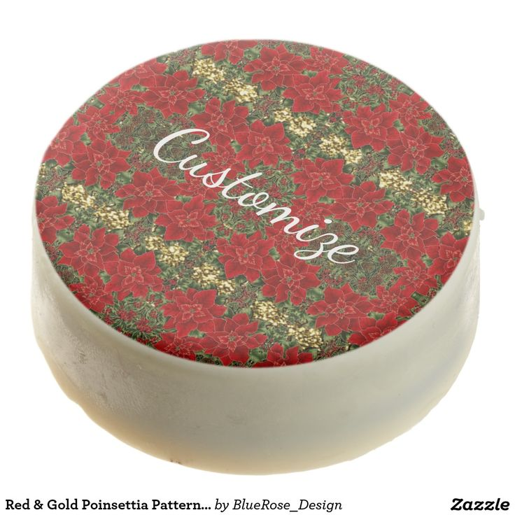 Red & Gold Poinsettia Pattern Oreo Cookies
