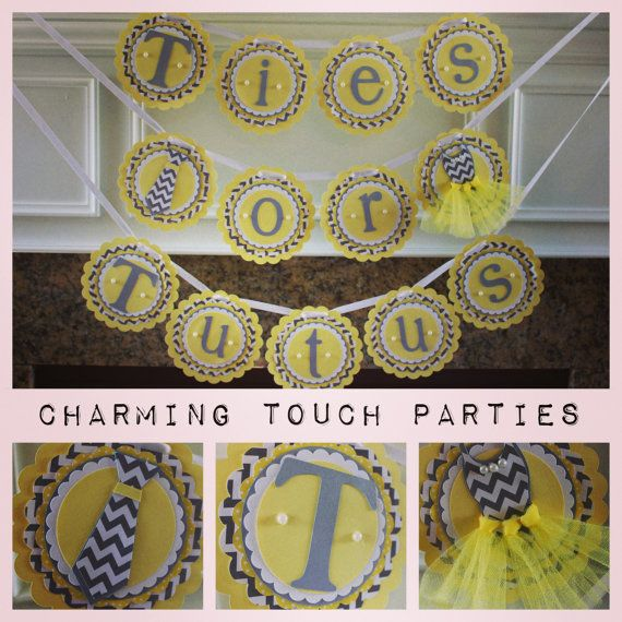 Custom yellow and gray chevron Ties Or Tutus Gender Reveal banner (You Choose Colors) on Etsy, $37.00