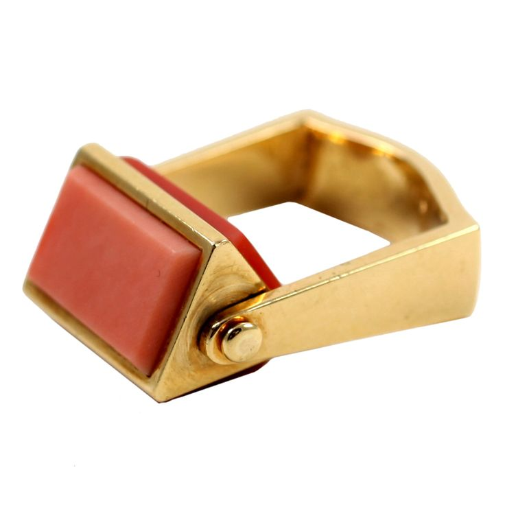 "1stdibs.com | Unique French Coral ""Roll"" Ring"