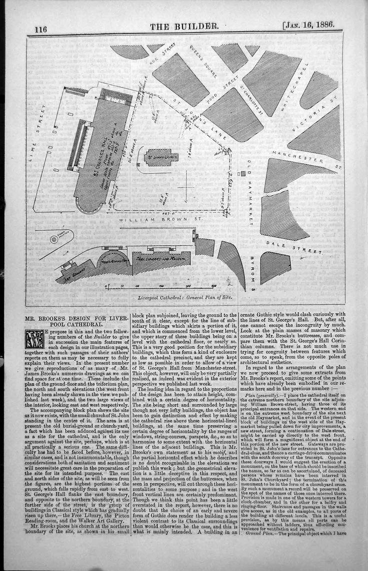 Print Site Plan Liverpool Cathedral James Brooks Design 1886 116L150 Old Original  (1200×1861)