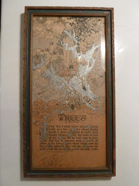 """1910 Buzza co. Motto print with the poems """"Trees"""" by Joyce Kilmer. Mrs. Kilmer's classic poem has been read by most and framed in the beautiful art work of Wheeler and produced by the Buzza co. in the early 1900's The more you look the more you see with amazing detail of birds nesting,"""