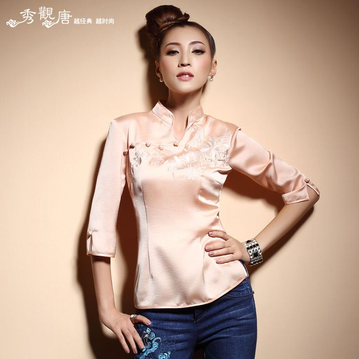 Half Sleeve Open Neck Modern Qipao Shirt - Chinese Shirts & Blouses - Women