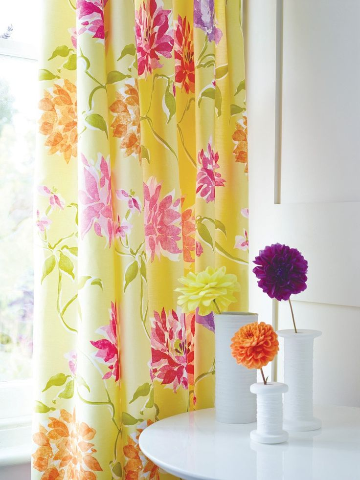Yellow & Pink Curtains Set   Capri Floral Curtains at Bedeck Home