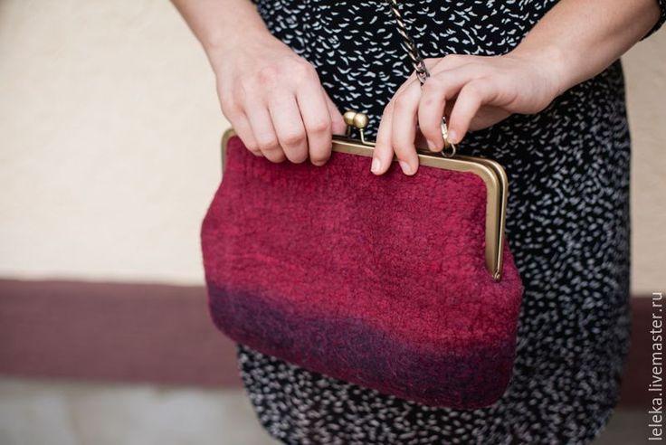"""Купить сумочка с фермуаром""""красное-черное"""" - бордовый, сумочка с фермуаром, шерсть мериноса, шелк натуральный"""