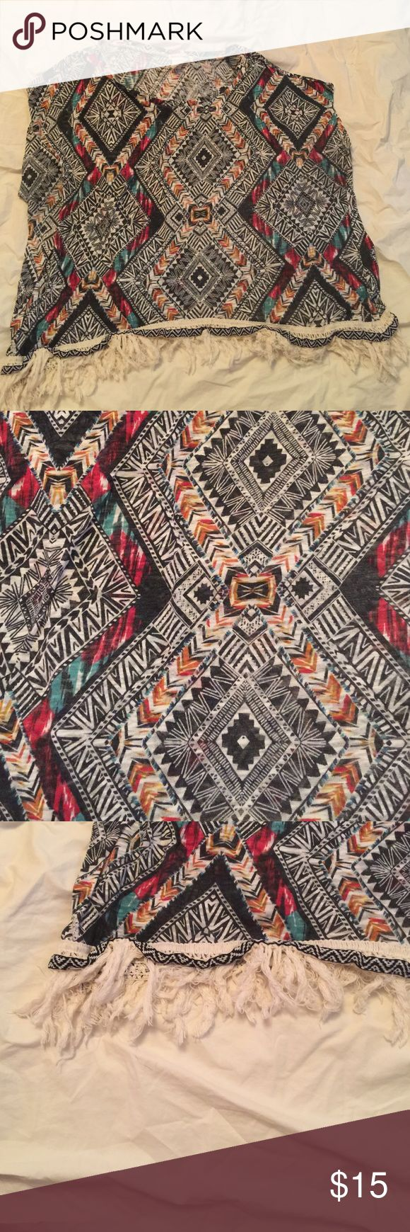 Used Plus size Aztec shirt with fringes size 22/24 Used and in good condition. Make me an offer Tops Tees - Short Sleeve