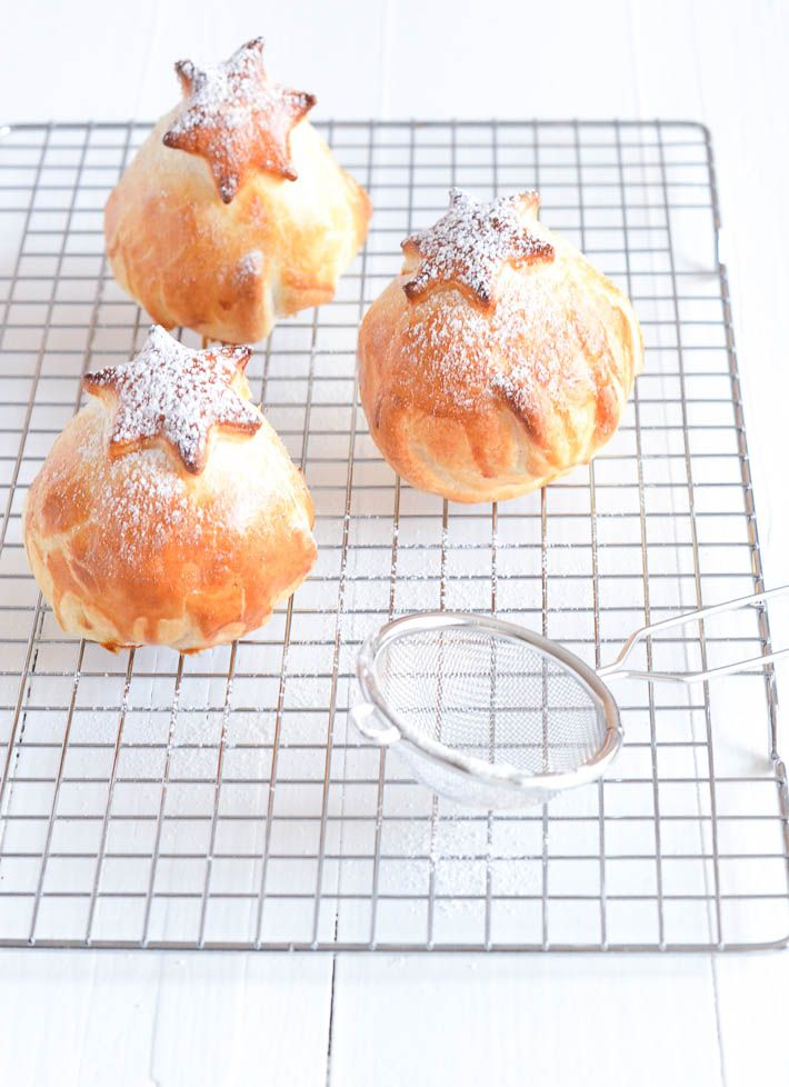 warm apple buns with almond paste and raisins