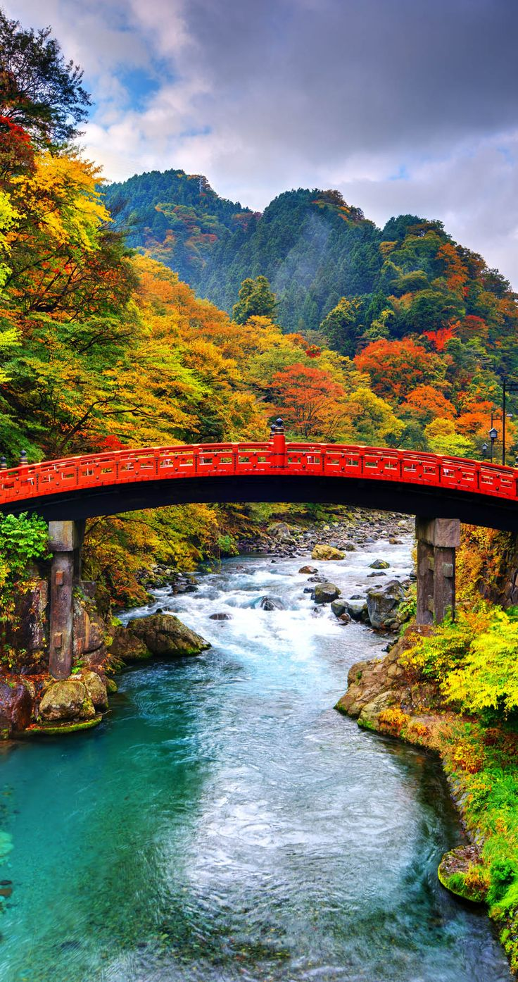 Scenic Shinkyo Bridge in Nikko, Japan