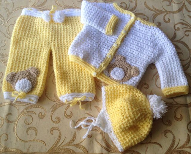Baby Set. crochet,Jacket, pants and helme by stellaknittingshop on Etsy