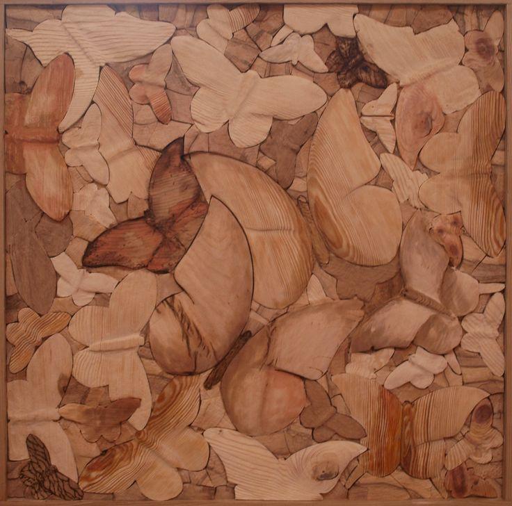 BUTTERFLY, different kinds of wood, 80 x 80 cm / MOTÝLOVO, různá dřeva, 80 x 80 cm / Viva wood art
