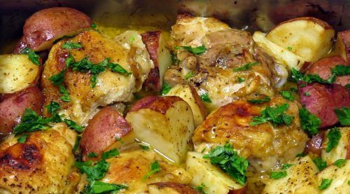 Maple Mustard Chicken and Potatoes We like the all in one dinner. Here is flavorful chicken dish flavored with mustard and maple syrup. Come home from a long day toss the ingredients together and have a homemade dinner quick and easy. Enjoy!