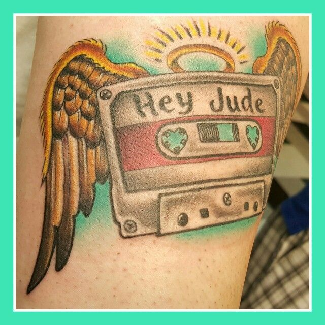 Cassette tape tattooed by Greg Votaw at Galveston tattoo company.
