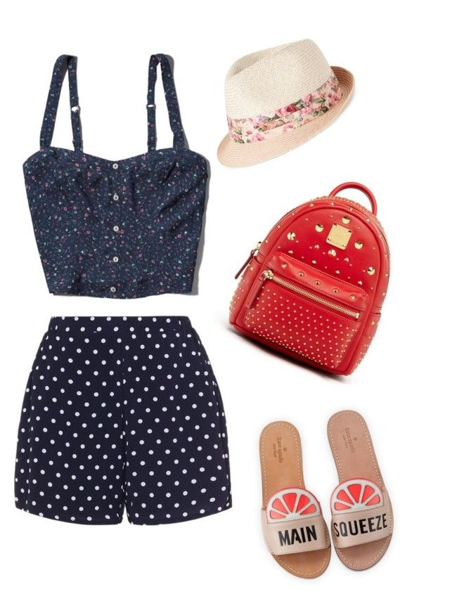 """Soft Gamine Summer"" by juicy-stilet on Polyvore featuring Nine West, Zizzi, Kate Spade, Abercrombie & Fitch and MCM"