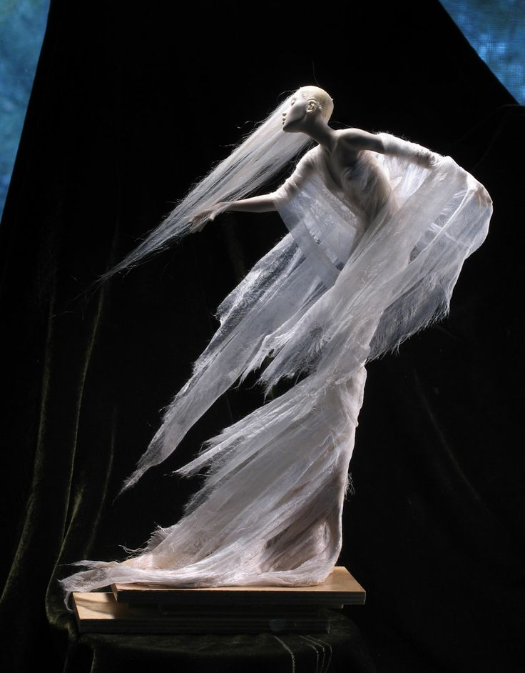 """Yuki Onna, snow spirit, underway in Kato Polyclay, paper and silk. Ramie fiber for her hair. She stands around 12"""" tall."""