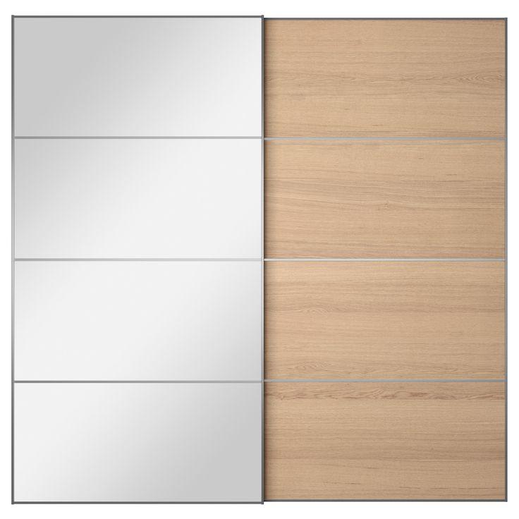 AULI/ILSENG Pair of sliding doors Mirror glass/white stained oak veneer  200x201 cm