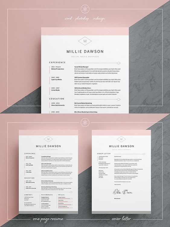 Millie Resume Template Word InDesign Photoshop Resumetemplate Cv Cvtemplate Coverletter Templates Indesign