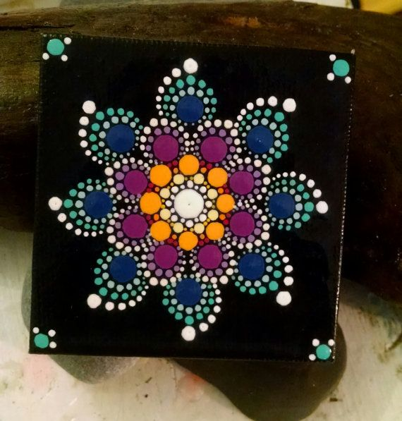 Colorful Dot Art Flower Mandala Original Hand por P4MirandaPitrone