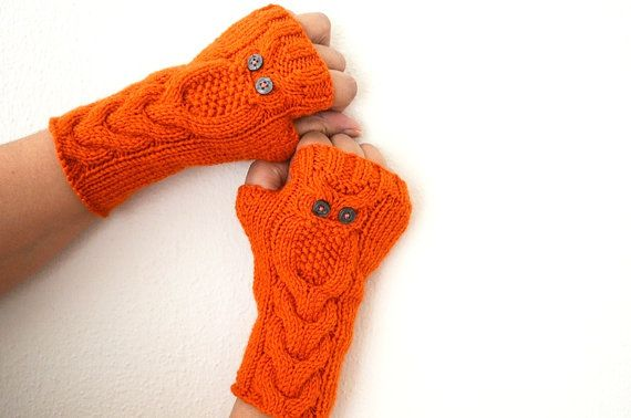 Owl  Hot orange  Gloves, Hand Knit Mittens,  Fingerless Gloves, Woman Arm Warmers $29