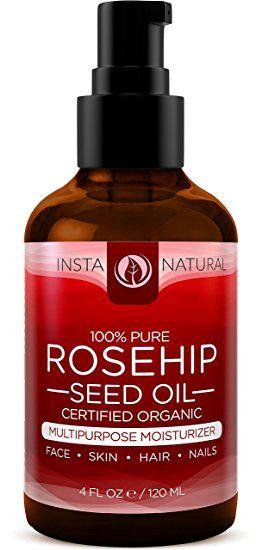 Aceite de Rosa Mosqueta de InstaNatural - 120 ml Humectante orgánico prensado al frío para la piel, el rostro y el cuerpo - Ayuda contra las cicatrices, estrías, arrugas y líneas de expresión para hombres y mujeres - Sencillo tratamiento anti-frizz para al cabello