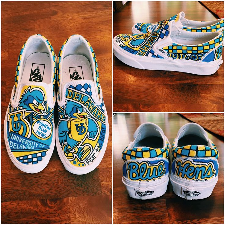 Fantastic Blue Hen shoes to show off University of Delaware school spirit! These were made by Lauren Weinstein for her sister, a new Blue Hen! See more school spirit shoes at @spiritandsoles on Instagram and Twitter