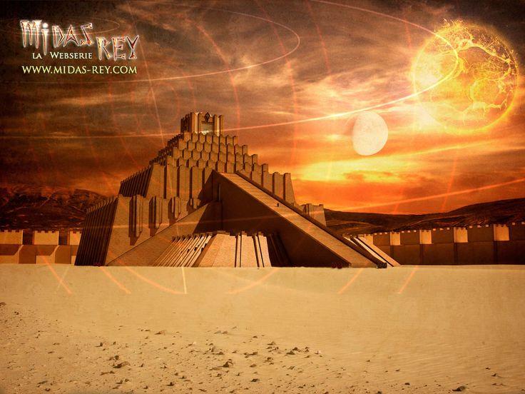 """El Ziggurat, un templo mesopotámico en forma de pirámide escalonada y de uso concreto desconocido. En la mitología sumeria se consideraban las """"viviendas"""" de los dioses.  En la mitología de la webserie -Midas, rey - el Ziggurat tendrá una importancia fundamental. http://www.midas-rey.com"""