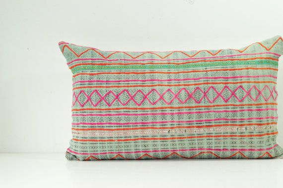 A unique pillow case created from vintage HMONG textile batik & embroidered ethnic made a piece of tradition costume, reverse made of hand woven natural