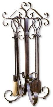 Uttermost 20338 Daymeion Metal Fireplace Tools, Set/5 - transitional - Fireplace Accessories - Eager House