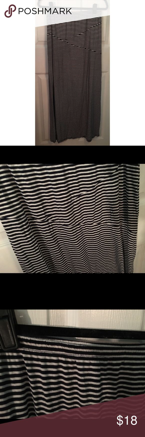 """Cotton On Navy and White Striped Maxi Skirt Super cute navy and white striped maxi skirt from Cotton On. It is stretchy. Great for a petite/average sized person- I am 5'4"""" and it was not too long on me. Excellent used condition. Cotton On Skirts Maxi"""