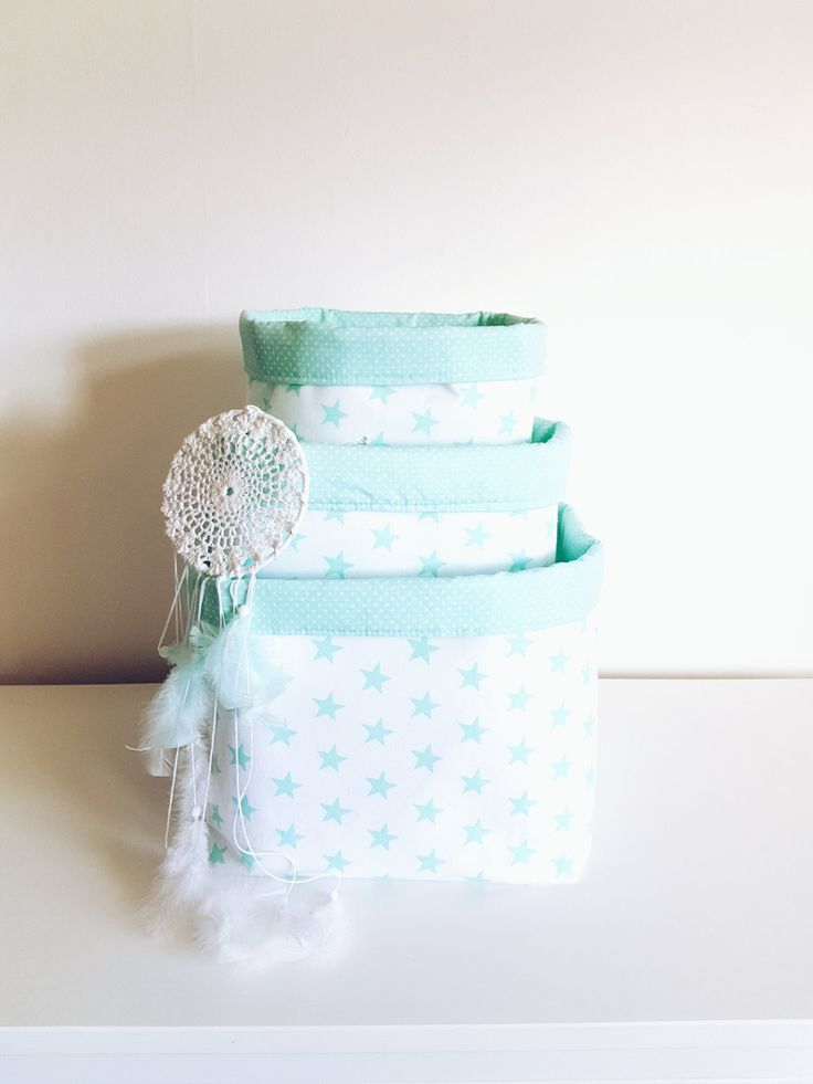 Stars, fabric storage basket, organizer, container.Nappy basket, toy storage, nursery decor, kids room.Mint green and white.FREE UK DELIVERY by MeaBeeDesign on Etsy