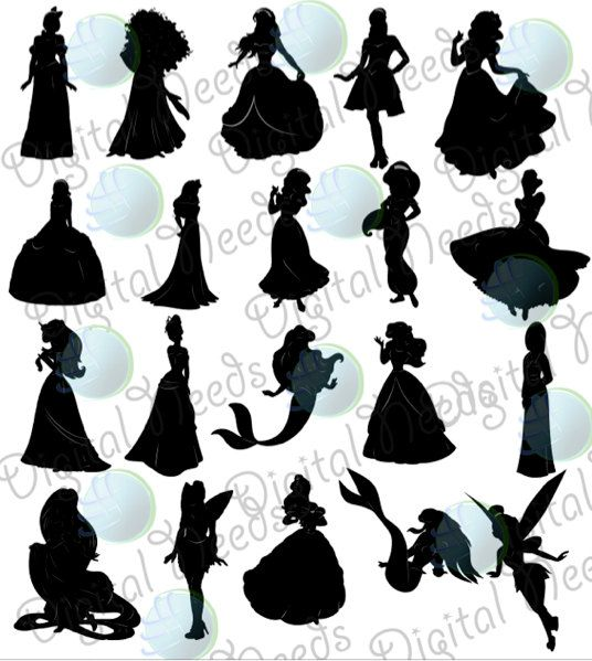 Disney princess silhouettes black and white dresses