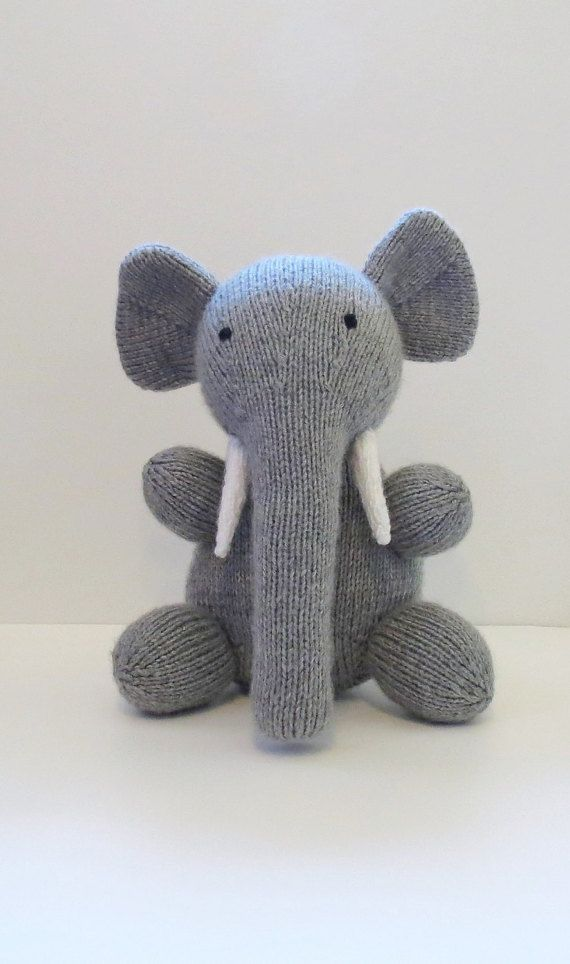 Eve the Hand Knit Toy Elephant Knitted by MockingbirdKnits