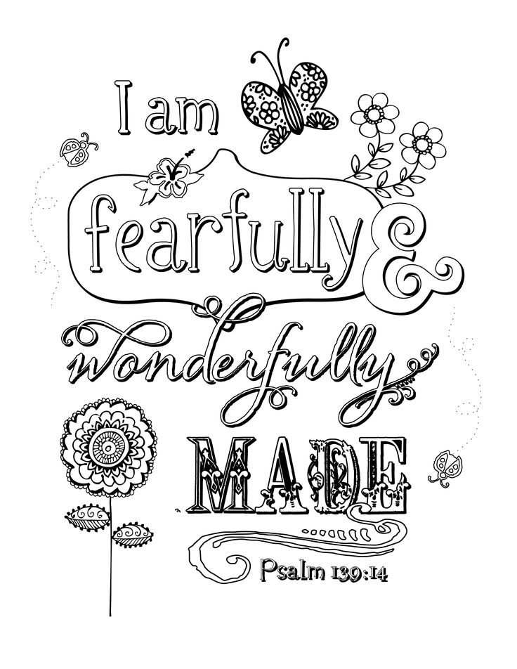 I am fearfully and wonderfully made coloring page by JoDitt Designs