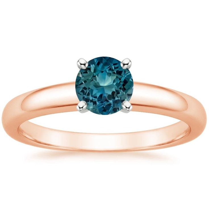 Teal Center Stone Engagement Ring