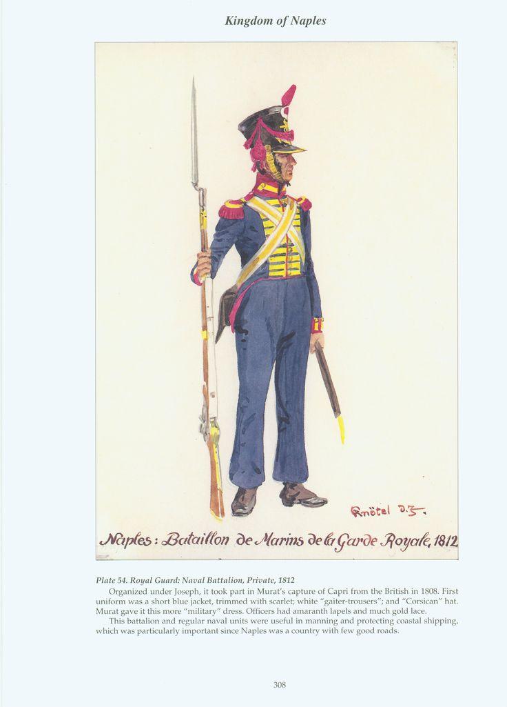 Kingdom of Naples: Plate 54. Royal Guard: Naval Battalion, Private, 1812.