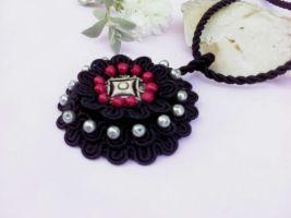 Black flower pendant by Mirtus63