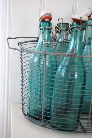 turquoise glass bottles