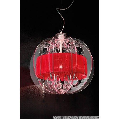 SPHERA lampadario con inserti in plexiglass e diffusore in organza