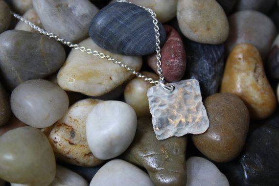 Silver Square Pendant on Etsy, $21.00 CAD