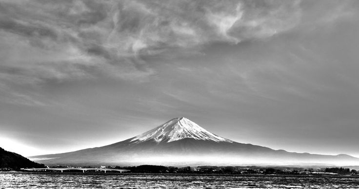 https://flic.kr/p/tQ5b47 | Fuji in Monochrome | It has been a while since my last black and white photo. This time, it is Mount Fuji with the misty glow near its base.