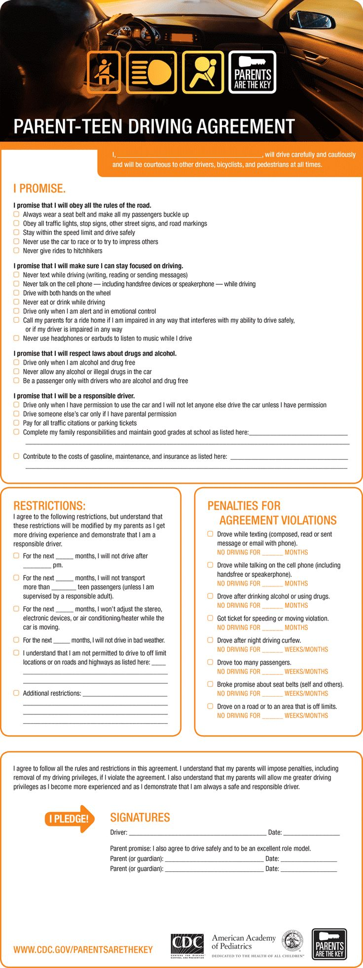 Parent teen driving agreement from CDC found on igottadrive.com