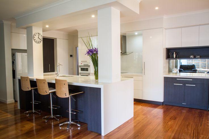 Modern kitchen. Home bar. Galley style kitchen. www.thekitchendesigncentre.com.au