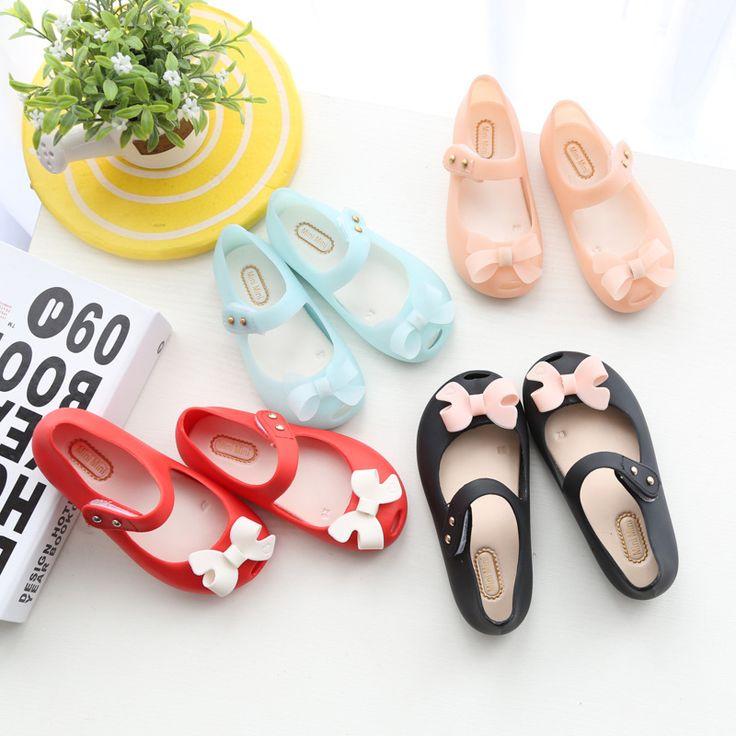 Mini Melissa 4 Color Bows Jelly Girls Sandals 2017 HOT SALE Girls Sandals 13-15.5cm Melissa Children Shoes Girls High Quality #Affiliate