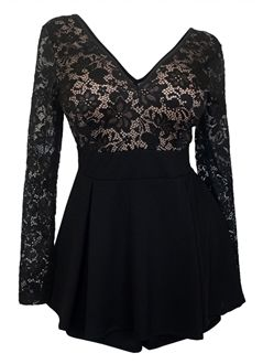 Plus Size Fashion - Plus size Lace Overlay Romper Dress (plus size) #plussizefashion #dress #summer #urban